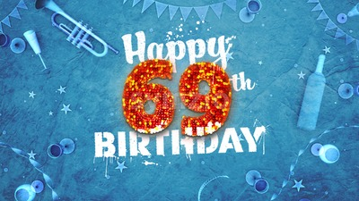 Happy 69th Birthday Card with beautiful details Stock Photo