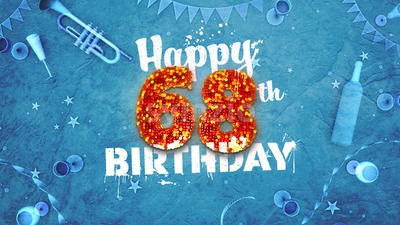 Happy 68th Birthday Card with beautiful details Stock Photo