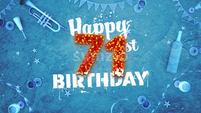 Happy 71st Birthday Card with beautiful details Stock Photo