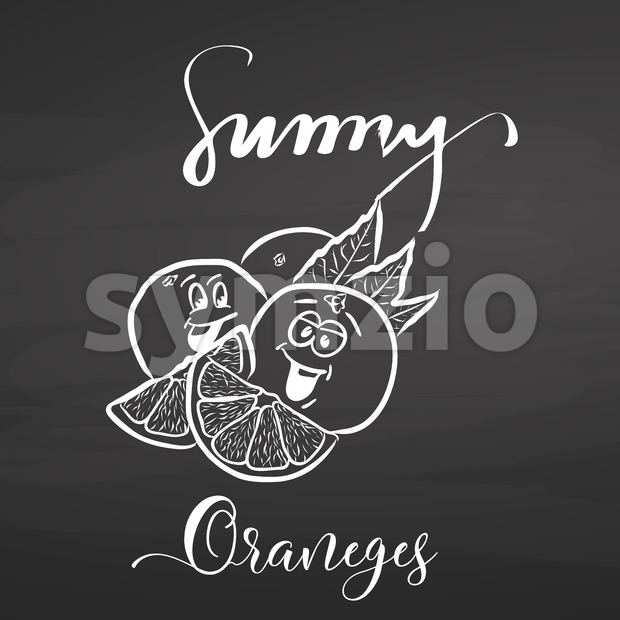 Sunny oranges with lettering on chalkboard Stock Vector