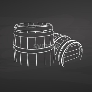 Chalk barrel drawing on chalkboard Stock Vector