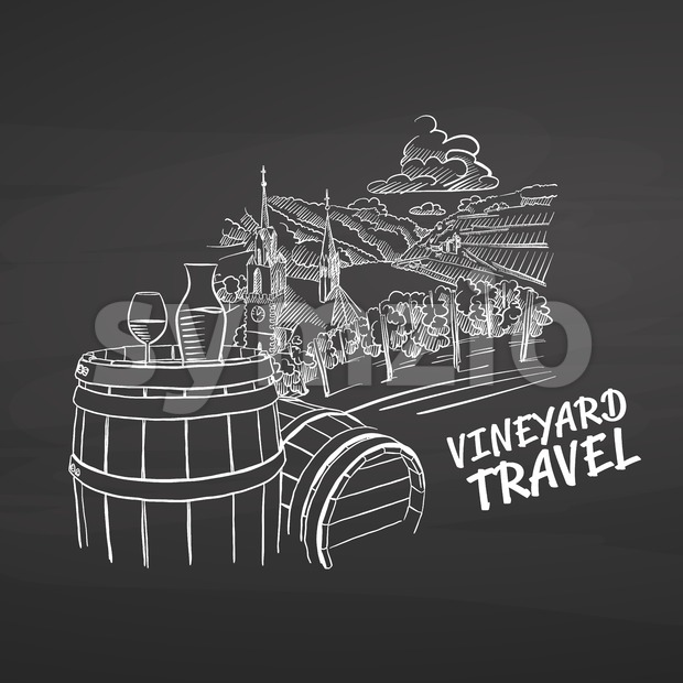Vineyard travel drawing on chalkboard Stock Vector
