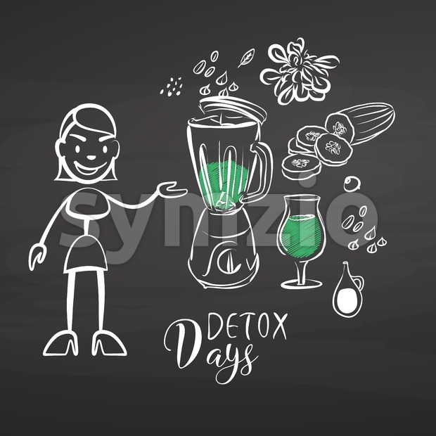 Hand-drawn detox vegetables on chalkboard. Hand drawn healthy food sketch. Black and White Vector Drawing on Blackboard.