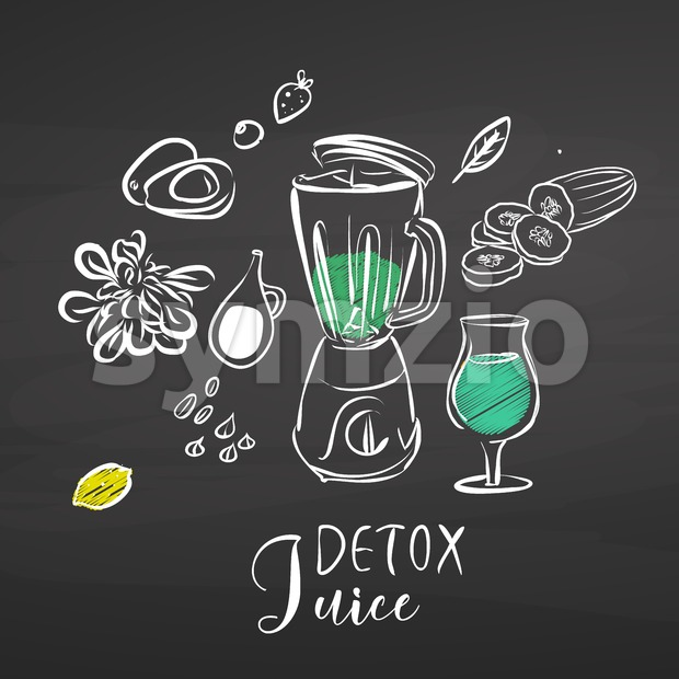 Detox juice ingredients on chalkboard. Hand drawn healthy food sketch. Black and White Vector Drawing on Blackboard.