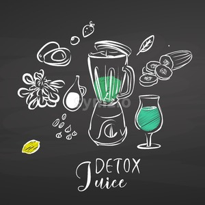 Detox juice ingredients on chalkboard Stock Vector
