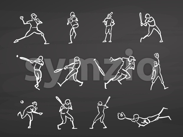 Baseball player doodles on chalkboard Stock Vector