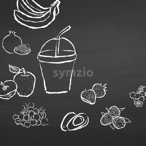 Frozen fruit smoothie to go on chalkboard Stock Vector