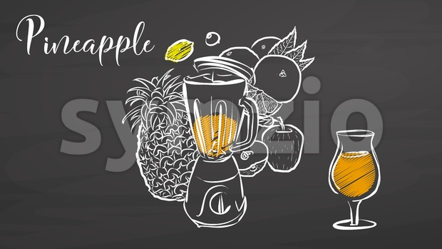 Pineapple smootie scene on chalkboard Stock Vector