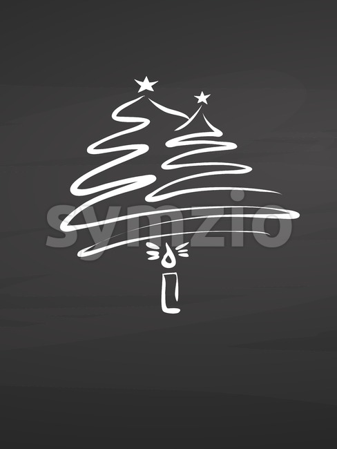 Calligraphic christmas tree and candle on chalkboard Stock Vector