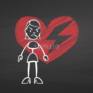 Stick woman heart broken on chalkboard Stock Vector