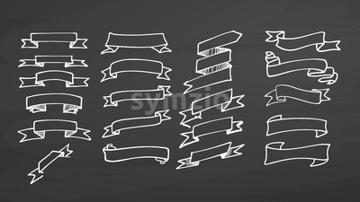 Big set of ribbons on chalkboard Stock Vector