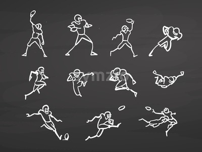 American football doodles on chalkboard Stock Vector