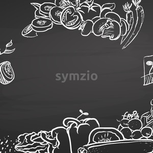 Healthy food doodle sketches on chalkboard with copyspace Stock Vector