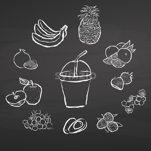 Smoothie and fruits. Illustration on chalkboard. Stock Vector