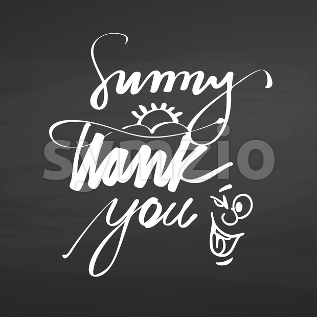 Sunny thank you lettering on chalkboard Stock Vector