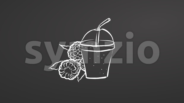 Raspberry smoothie. Chalk on chalkboard Stock Vector
