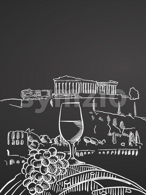 Wine glass on barrel in front of temple in greece Stock Vector