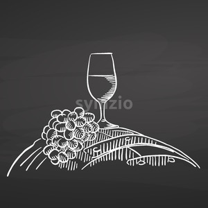 Wine glass and grapes on barrel. Chalk on chalkboard Stock Vector