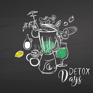 Detox days. Vegetables and Mixer on chalkboard Stock Vector