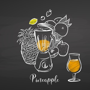 Pineapple smoothie scene on chalkboard Stock Vector