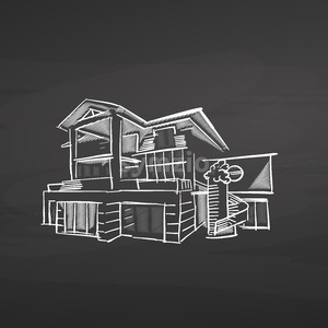 House planning. Drawing on chalkboard Stock Vector