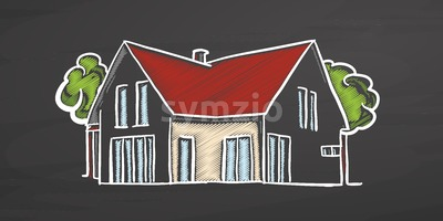 Small colored house on chalkboard Stock Vector