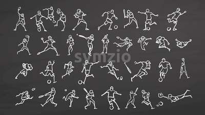 Big set ball sport doodles on chalkboard Stock Vector