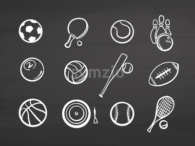 Big set of various balls on chalkboard Stock Vector