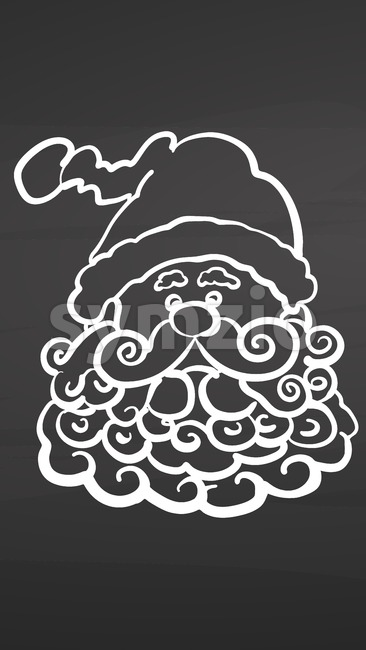 Santa with beard icon on chalkboard. Handdrawn vector sketch, clean outlines, vintage style blackboard.