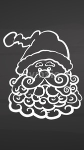 Santa with beard icon on chalkboard Stock Vector