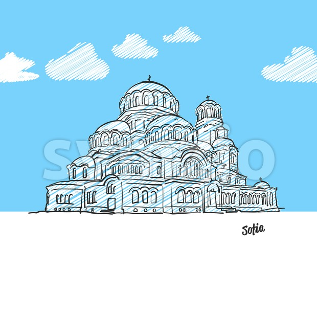 Sofia, Bulgaria famous landmark sketch Stock Vector