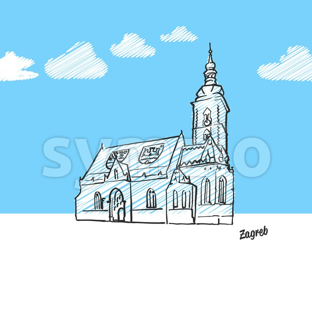 Zagreb, Croatia famous landmark sketch Stock Vector