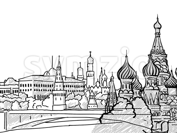 Moscow, Russia famous Travel Sketch Stock Vector