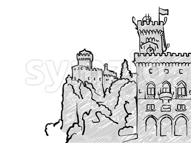 San Marino famous Travel Sketch. Lineart drawing by hand. Greeting card design, vector illustration