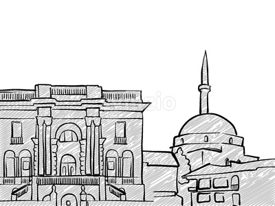 Belgrade, Serbia famous Travel Sketch Stock Vector