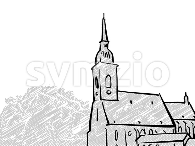 Bratislava, Slovakia famous Travel Sketch. Lineart drawing by hand. Greeting card design, vector illustration
