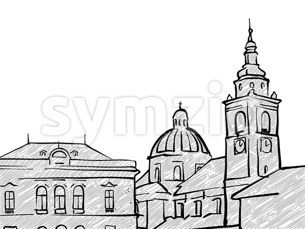 Ljubljana, Slovenia famous Travel Sketch Stock Vector