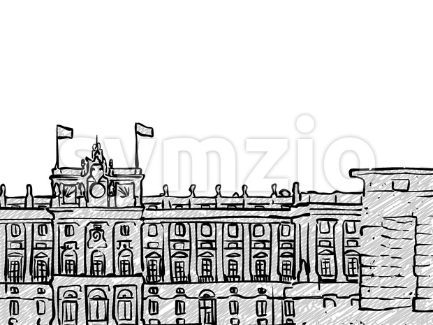 Madrid, Spain famous Travel Sketch. Lineart drawing by hand. Greeting card design, vector illustration