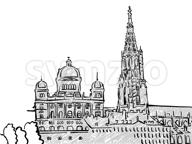 Bern, Switzerland famous Travel Sketch Stock Vector