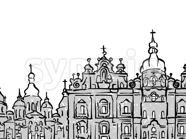 Kyiv, Ukraine famous Travel Sketch Stock Vector