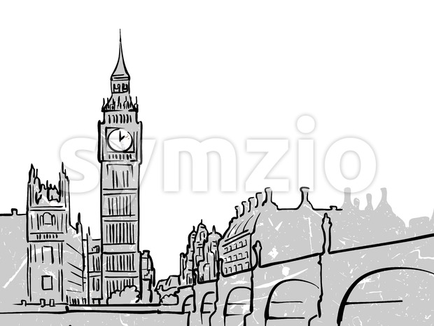 London, United Kingdom famous Travel Sketch. Lineart drawing by hand. Greeting card design, vector illustration
