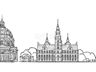 Copenhagen, Denmark famous Travel Sketch Stock Vector