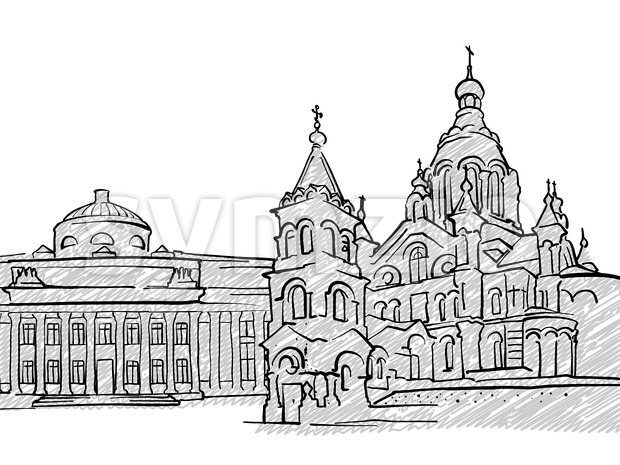 Helsinki, Finland famous Travel Sketch Stock Vector