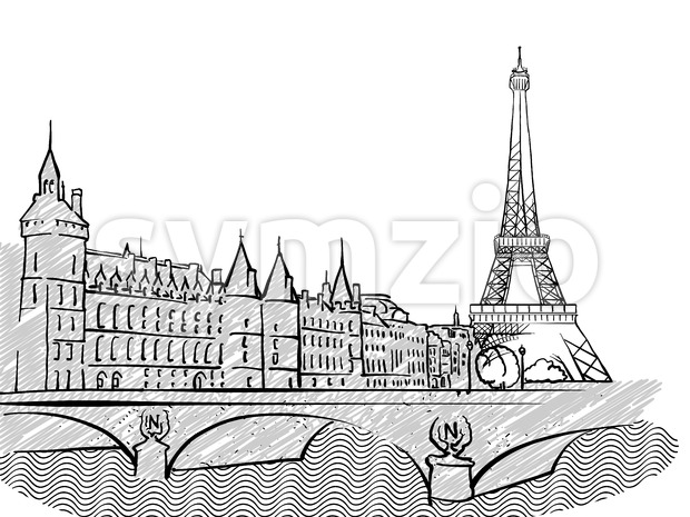 Paris, France famous Travel Sketch Stock Vector
