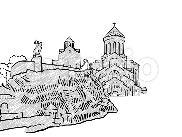 Tbilisi, Georgia famous Travel Sketch Stock Vector