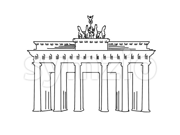 Berlin, Germany famous Travel Sketch Stock Vector