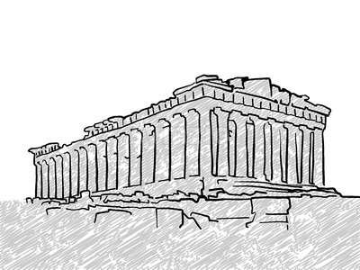 Athens, Greece famous temple sketch Stock Vector