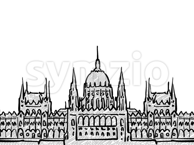 Budapest, Hungary famous Travel Sketch Stock Vector