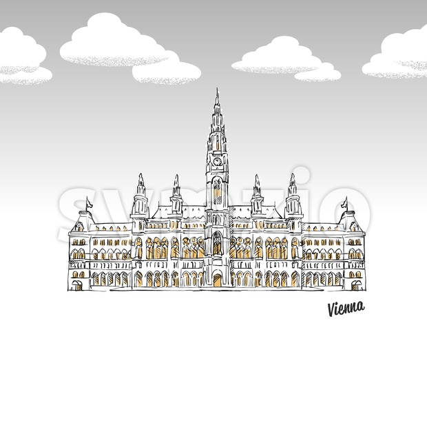 Vienna, Austria famous landmark sketch Stock Vector