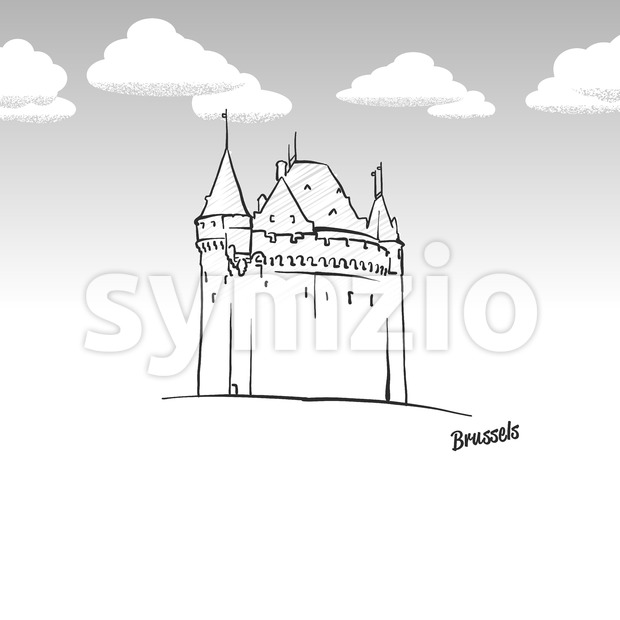 Brussels, Belgium famous landmark sketch Stock Vector